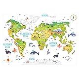 174 Wandtattoo Weltkarte mit Tieren 3D - Kinderzimmer Wanddeko Größe 1250 x 860 mm