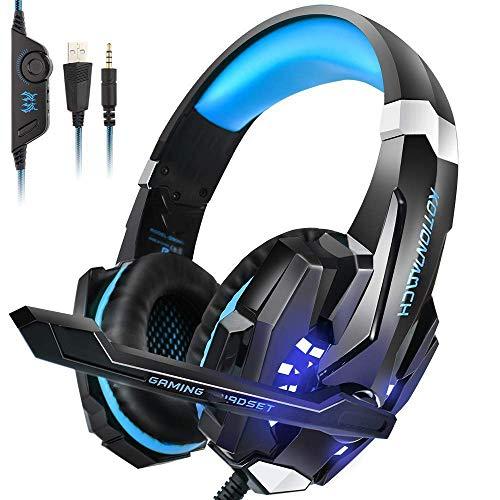 Adecuado para Auriculares, con micrófono LED Light, CASQUES Auriculares de gaminógenos de gaminógeno de bajo Color Rojo (Color: Rojo) YXF99 (Color : Blue)