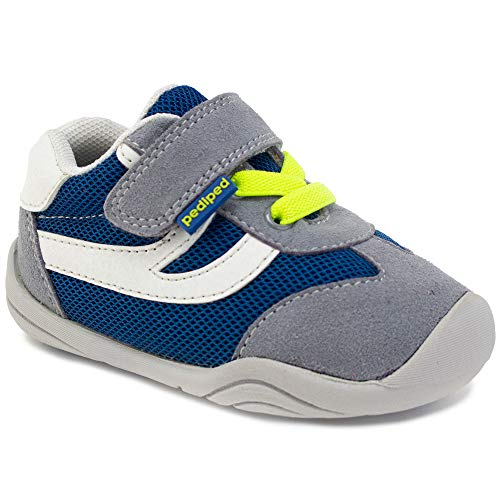 pediped Grip 'N Go, Cliff Grey Blue Lime Sneaker, All Natural Rubber Sole, Comfort, Protection and Flexibility. Closed-Toe, Adjustable Hook-and-Loop Velcro Closure Strap