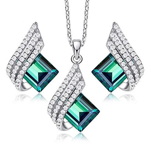 XINGYU Conjunto De Joyas De Plata De Ley Mujer, Pendientes Colgantes Collar Colgante Cristales Azules Swarovski Diamante Elegante Personalizado Regalo CumpleañOs para La Esposa Novia