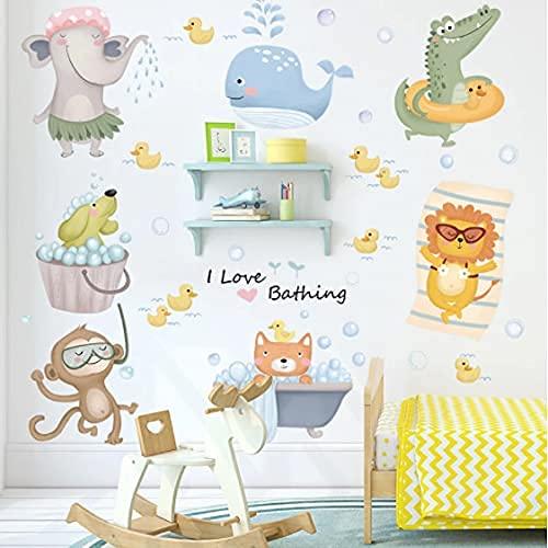 Dibujos animados lindo animal pegatinas de pared habitación de los niños baño azulejo decoración de la pared vinilo impermeable pegatinas de pared de bricolaje arte mural decoración del hogar