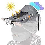 WD&CD Impermeable Funda para Cochecito de Bebé, Toldo Oscuro Universal para Bebés Cochecitos- Parasol Ajustable con Protección UV 50+, Gris