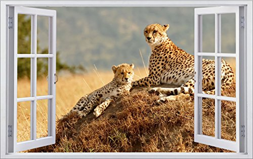DesFoli Leopard Gepard 3D Look Wandtattoo 70 x 115 cm Wanddurchbruch Wandbild Sticker Aufkleber F297