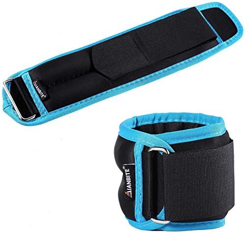KUYOU Ankle Weights 1 Pair, Ankle Wrist Weights for Women Men Kids, 2.2lbs -6.6 lbs Sand Filling Leg Weights with Adjustable Strap for Running, Walking, Exercise, Resistance Training, Gym (2.2)