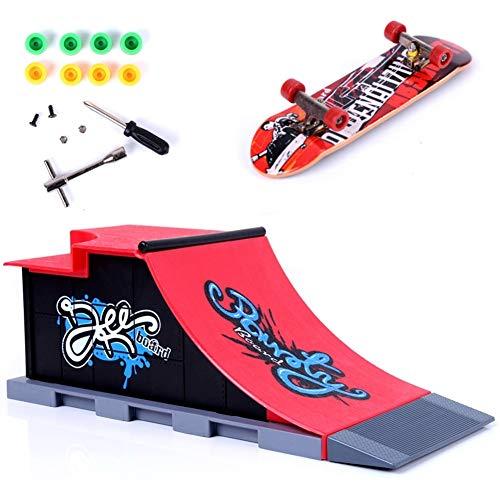 QNFY Mini Monopatín de Dedo Finger Skateboard con Juegos de Accesorios de Rampa Diapasón de Juguete Ultimate Parks Training Props Regalo de Cumpleaños para Niños (C)