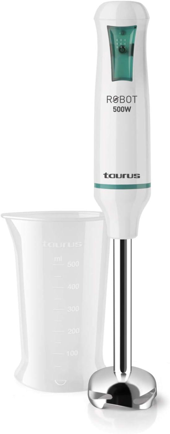 Taurus ROBOT500INOX Robot INOX-Batidora de Vaso, 500 W, Cuchillas en Acero Inoxidable, Sistema antisalpicaduras, Blanco y Verde