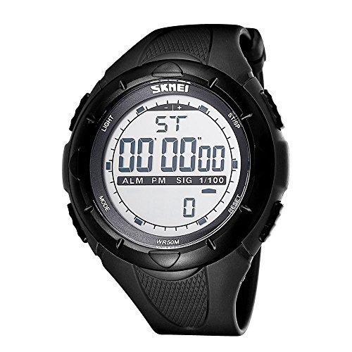 HUBINGRONG Unisex Digital-Uhrwerk mit Silikonband mit leuchtendem Display Wecker Stoppuhr Kalender Wochenanzeige Funktion Band Schwarz
