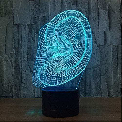 Oor Led 3D Lamp Afstandsbediening Kleurrijke Bureau Lamp Acryl Gift Creatieve Producten Kinderen Powerbank Led Nacht Licht Tafellampen