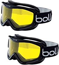 Bolle Mojo Ski/Snow Goggles, 2-Pack   Shiny Yellow Lemon   Ventilated   Dual-Pane Anti-Fog Thermal Barrier   Crystal Clear View   Med-Lg. Adult Fit