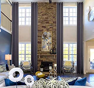 "Ikiriska 100% Blackout Extra Long Linen Curtains. Off White, Beige Cream Gray Custom Made 12-24 feet Length 2 Story Great Room (Gray, 144"" Lx50 W)"