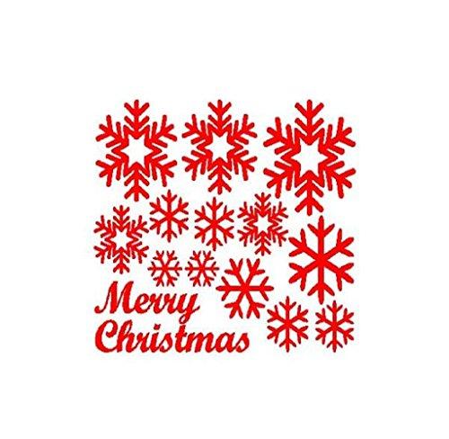 Mur fenêtre Autocollants Ange Flocon de Neige Noël Noël Vinyle Art Stickers décoration (Red)