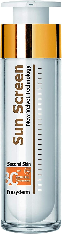 Frezyderm Sun Screen Velvet Crema protectora solar facial SPF 30 (textura aterciopelada, previene el fotoenvejecimiento), 50ml