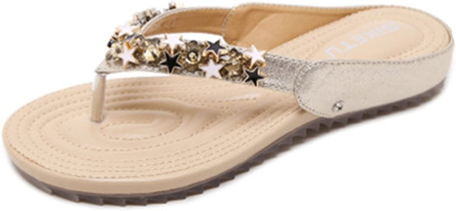 GIY Women's Fashion Flat Flip Flops Sandals Comfort Platform Studded Star Sparkly Summer Beach Thong