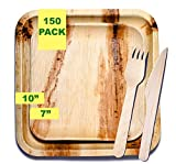 """Party Pack of 150. The Palm Leaf Disposable Plate Advantage – Strong, Natural, Biodegradable. 25 Fabulous Place Settings: 25 x 10"""" Plates, 25 x 7"""" Plates, 50 x 6"""" Forks, 50 x 6"""" Knives."""