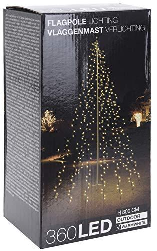 Lichterkette für Fahnenstangen bzw. Fahnenmast - 10 Stränge à 8 Meter mit 360 LED in warm weiß - Kabelfarbe schwarz, Lieferung inkl. Heringe und IP44 Netzteil