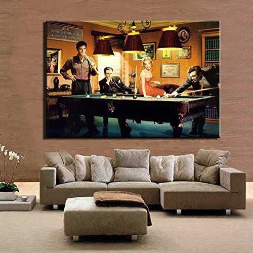 Quadro su Tela Classico Moderno Dipinto su Tela Elvis Presley, Humphrey Bogart, Marilyn Monroe Gioca a Biliardo Wall Art Picture Home Decor W 30x45cm