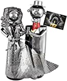 BRUBAKER Soporte para botellas de champán o champán, diseño de pareja de novios de metal con tarjeta de regalo