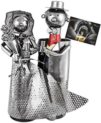 BRUBAKER Flaschenhalter für Sekt oder Champagner - Hochzeitspaar Metall Skulptur mit Geschenkkarte