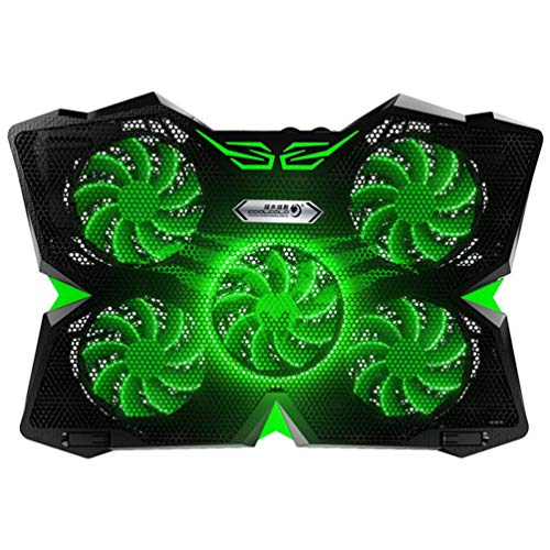 SOLUSTRE Laptop Cooling Pad 5 Fans for 15.6 14 13 Inch Notebook Cooler with 5 Quiet Fans and LCD Screen, 5 Heights Adjustment, 2 USB Port and Green LED Light