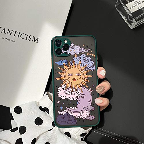 HNZZ Tmrtcgy Jamular Funny Sun Moon Cara Funda a Prueba de Golpes a Prueba de Golpes para iPhone 11 Pro 12 7 XS MAX X XR 8 Plus TPU Suave Tapa Mate (Color : Style 8, Size : Iphone7 8)