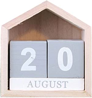 Calendar Vintage Wooden Perpetual Calendar Month Date Display Block Photography Props Desk Accessory Sweet Home Office (Co...