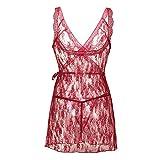 XLDD Babydoll Dessous Damen Sexy Spitze Nachthemd Unterwäsche Erotik Nachtwäsche Öffnen Zurück Transparente Pyjama mit G-String Plus Size Frauen Sexy Lingerie S