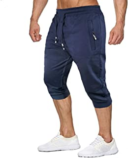 MANSDOUR Men's Jogger Capri Pants 3/4 Workout Gym Sweatpants Cotton Running Below Knee Shorts with Pockets