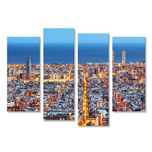 islandburner Cuadro Cuadros Horizonte de Barcelona, Vista aérea por la Noche, España Impresión sobre Lienzo - Formato Grande - Cuadros Modernos