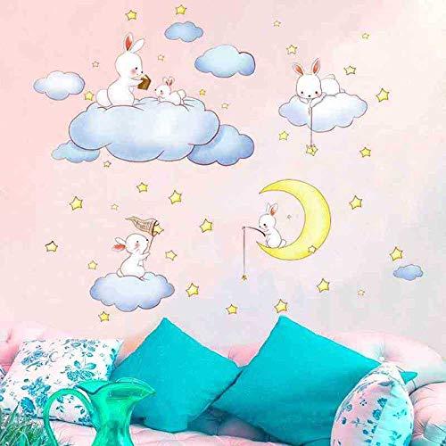 CVG Animal de Dibujos Animados Nubes Blancas Conejo Estrella Luna Pegatinas de Pared Habitaciones para niños Dormitorio del bebé Decoración para el hogar Luna y Las Estrellas Tatuajes de Pared