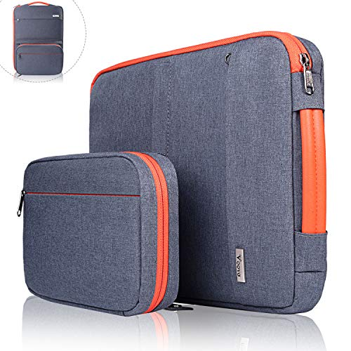 Voova 14-15.6 Inch Laptop Sleeve Bag Cover Special Design Waterproof Computer Protective Carry Case with Detachable Accessory Pocket Compatible with Chromebook, MacBook Pro Retina 15', HP, Dark Grey
