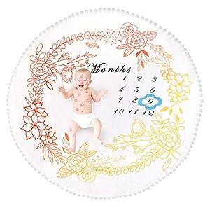 Tianhaik Fondo de foto de franela suave de manta de hito mensual de bebé con fondo de foto de marco