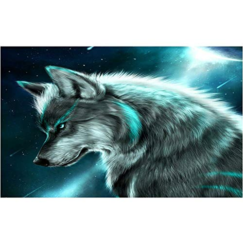 DIY 5D Diamond Painting by Number Kit Dream Wolf Full Drill Rhinestone Crystal Diamond Embroidery Pictures Cross Stitch Arts Craft Canvas for Home Wall Decor50x70cm
