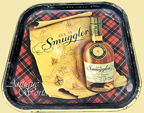 Antiques World Old Smuggler Genuine Collectors Piece Advertising Whisky Original Metal Bar Tray, Drinks Tray, Product of Scotland AWUSAHB 0178