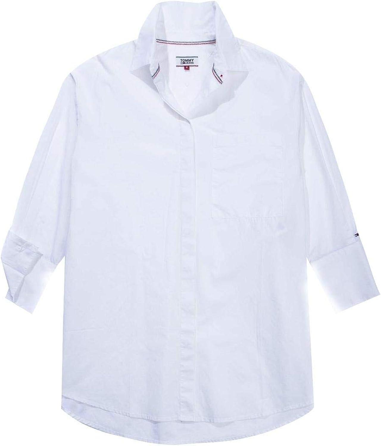 Camisa Tommy Denim Tjw Solid Oversized Blanca M 113: Amazon ...