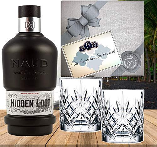 Rum Neuheit Panama Rum 3 Jahre im Bourbon Fass gereift Sonderedition NAUD Hidden Loot Geschenkset mit 2 Tumblern Geburstag Weihnachten Rumkenner