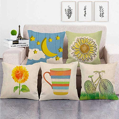 KUNQIAN Cushion Covers 5 Pieces Linen Throw Pillow Covers Case Square For Sofa Home Decorative Livingroom Bed Office Car Waist (Without Core) 18x18inch Sunflower bicycle