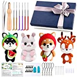 Needle Felting Starter Kit, 4 Pcs Doll Making Manual, 1 Pcs Felting Tool Instruction, Felting Foam Mat, 6 Felting Needles, Compact Wool Felting Supplies for Beginners, Christmas