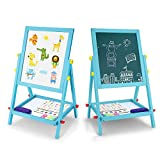 USELUCK Wood Art Easel for Kids,Double-Sided Magnetic Board for Kids with Magnetic Letters, Numbers and Other Accessories, Education Toys