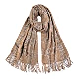 SOJOS Womens Plaid Scarf Large Long Check Wrap Shawl with Tassel SC325 with Camel with Grey and Green Checks