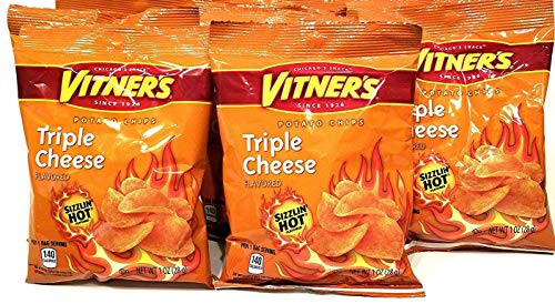 Vitners Tangy Triple Cheese Sizzlin' Hot Chips 10 Pack 1 oz bags