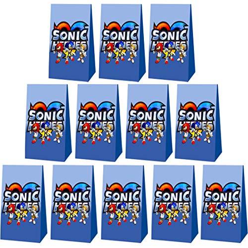 Bolsas de Regalo - YUESEN Sonic Bolsas de Papel de Caramelo Bolsa Sonic the Hedgehog de Regalo Decoración de Fiesta Adecuado para el Envasado de Snacks y Postres de Fiesta para Niños(24pcs)