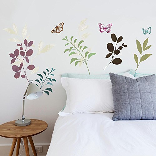 RoomMates Botanical Butterfly Stickers muraux repositionnables pour Enfant Multicolore