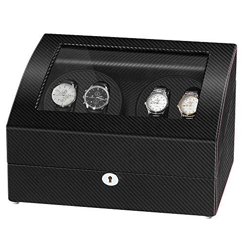 Exhibidor giratorio JQueen para dar cuerda a relojes automáticos para 4 relojes con almacenamiento para guardar 6 relojes