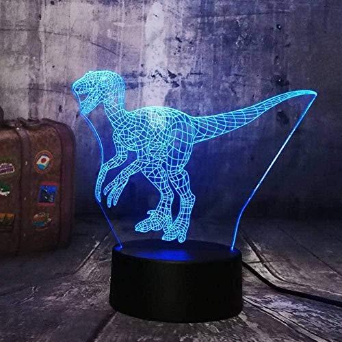 Lámpara de noche de ilusión 3Ddinosaurio Luz acrílica Lámpara de escritorio de dibujos animados para habitación de niños Regalos de Navidad-16 colors remote