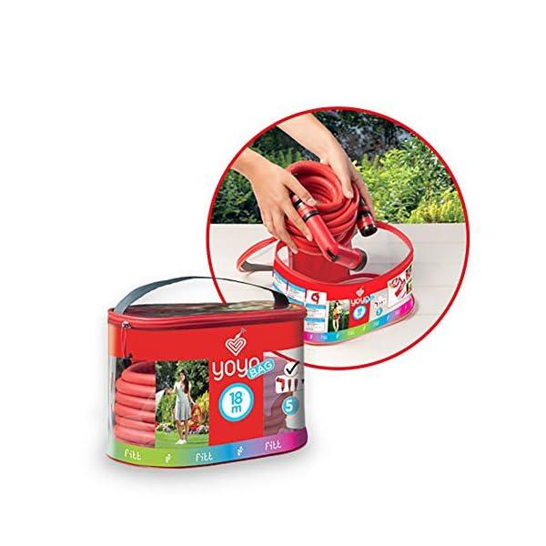 FITT YOYO Bag Manguera de Agua de jardín Extensible para riego Profesional con Estuche práctico Equipado con Cierre y…