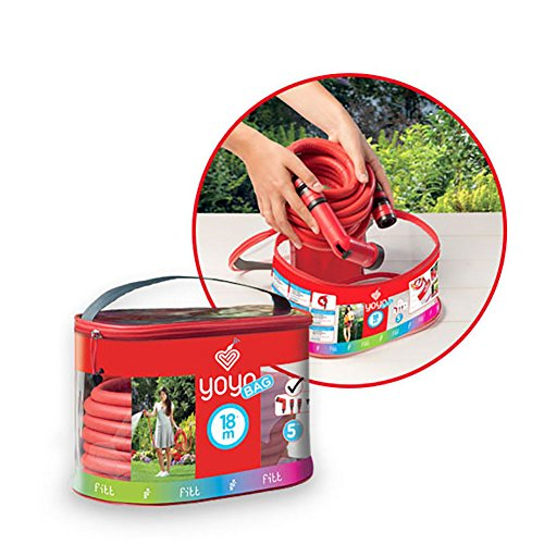 FITT YOYO Bag Tubo Acqua da Giardino Estensibile per Irrigazione con Pistola Multigetto e Borsa con Cerniera e Manico per Il Trasporto, Rosso, 10m