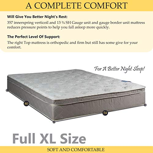 GREATON Medium Plush Pillowtop Eurotop Foam Encased In Hybrid Innerspring Mattress, Good For Back, No Assembly Required, Full XL