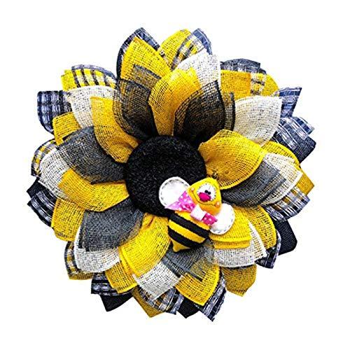 ZGHYBD Bee Sunflower Wreath for Front Door Decorations,Handmade Wreath Hard Working Honey Bee Front Door Hanging Garland Pendant Rattan Circle Home Window Wall Decor (3#)