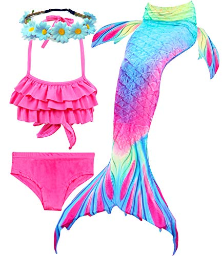 Camlinbo 3Pcs Girls Swimsuits Mermaid for Swimming Mermaid Costume Bikini Set for Big Girls Birthday Gift 3-14 Years (5-6X, 1A Ruffled-1)
