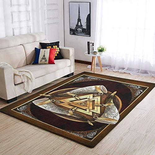 Knowikonwn Duraderas alfombras vikingas de Odin Ravens, súper lindas, cómodas, para sala de estar, para niños y niñas, color blanco, 122 x 183 cm